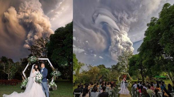 Cặp đôi ở Philippines có được bức ảnh để đời khi núi lửa Taal bất ngờ phun trào giữa lúc họ tổ chức đám cưới