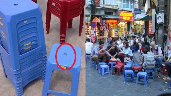 Đố bạn biết lỗ tròn trên ghế nhựa có công dụng gì?